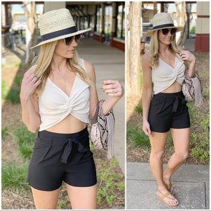 Infinity Raine Shorts - ✨LAST ONE✨Black Tie Front Shorts